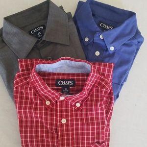 Lot of 3 boys Chaps button up dress shirts.